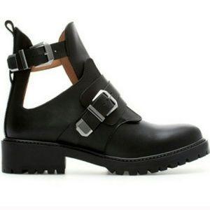Zara leather cutout buckle combat boots